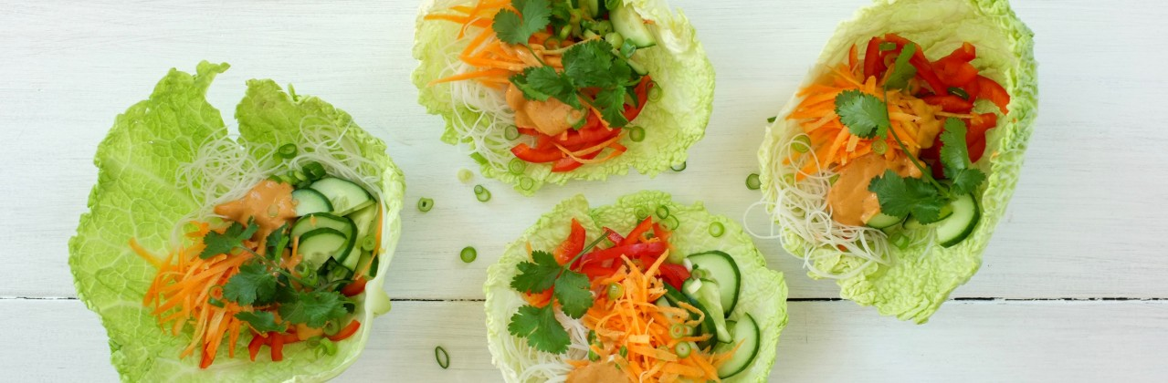 Cabbage Cups with Cashew-Coconut Dressing