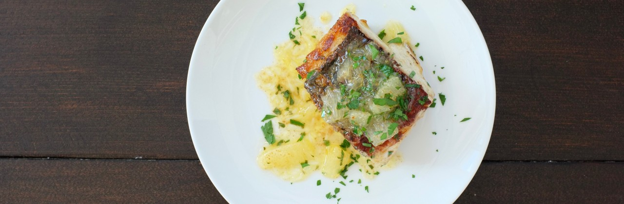 Crispy Sea Bass with Lemon Brown Butter