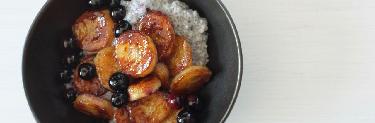 Coconut Chia Pudding with Caramelized Bananas