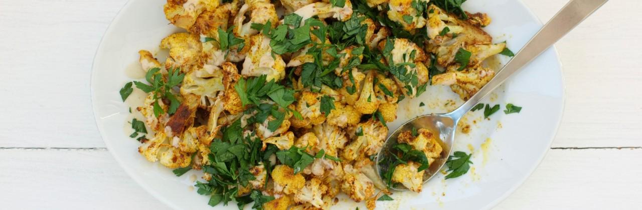 Shawarma Spiced Cauliflower with Lemon-Tahini Dressing