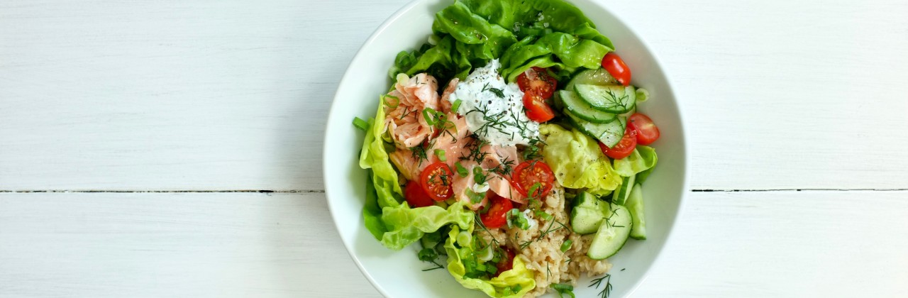 Cold Poached Salmon Salad with Dill Dressing