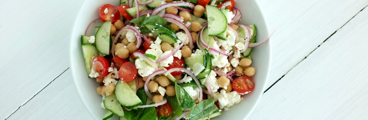 Cucumber-Feta Salad with Chickpeas and Basil