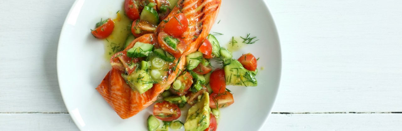 Grilled Salmon with Tomato-Avocado Salad