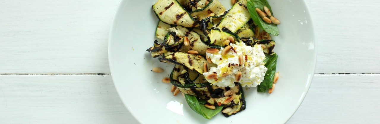 Grilled Zucchini with Ricotta, Pine Nuts & Basil