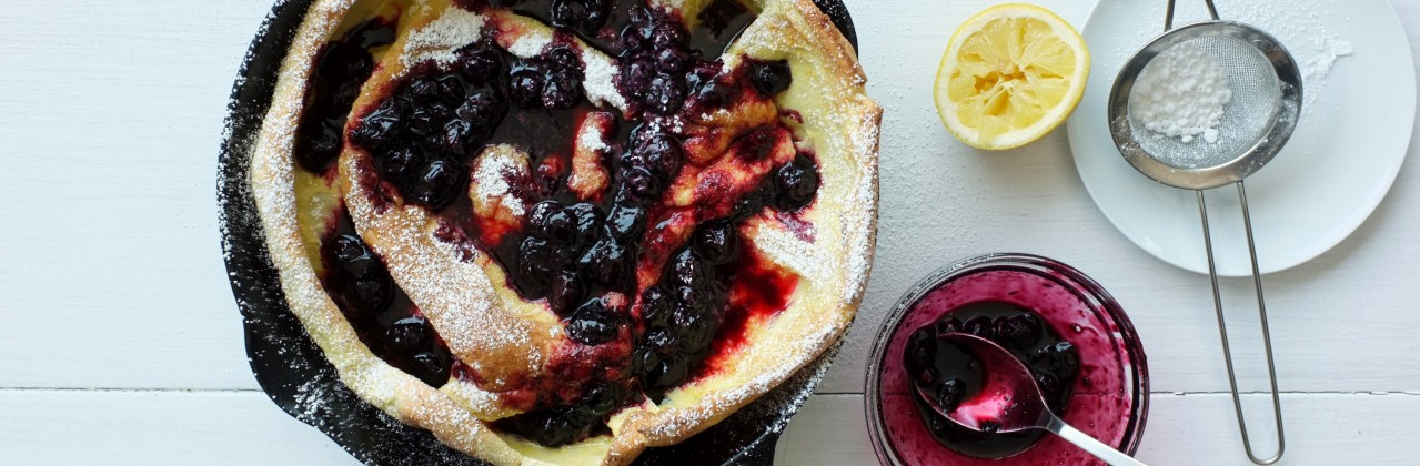 Dutch Baby with Blueberry Compote
