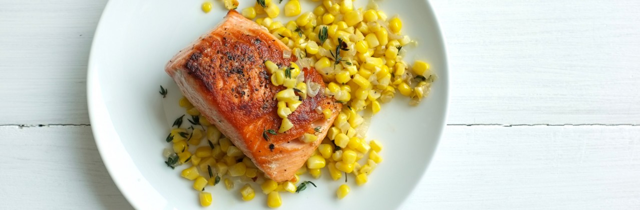 Pan Roasted Salmon with Sautéed Corn, Shallots & Thyme