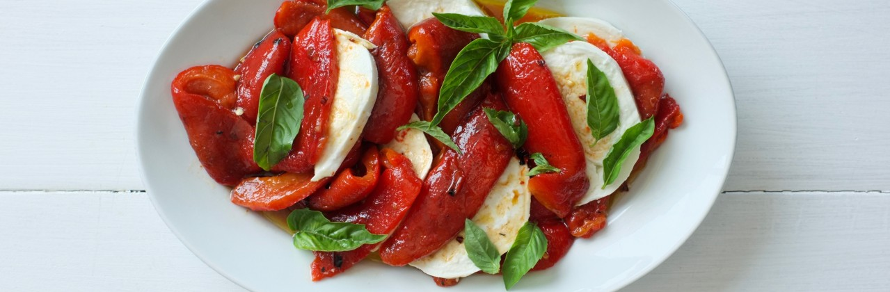 Marinated Peppers with Mozzarella & Basil