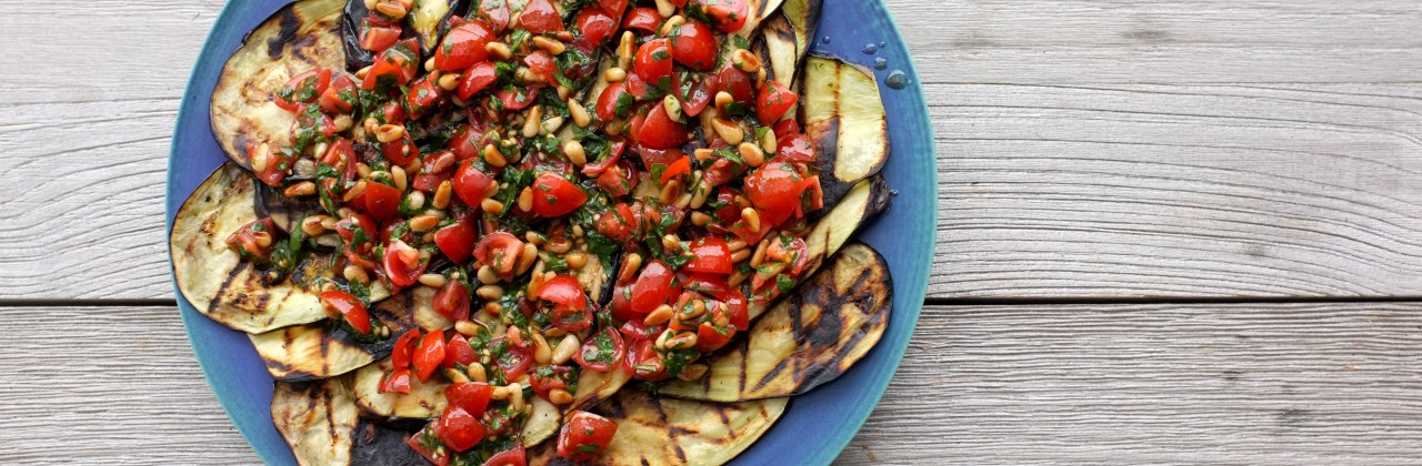 Grilled Eggplant with Tomato & Pine Nut Salsa