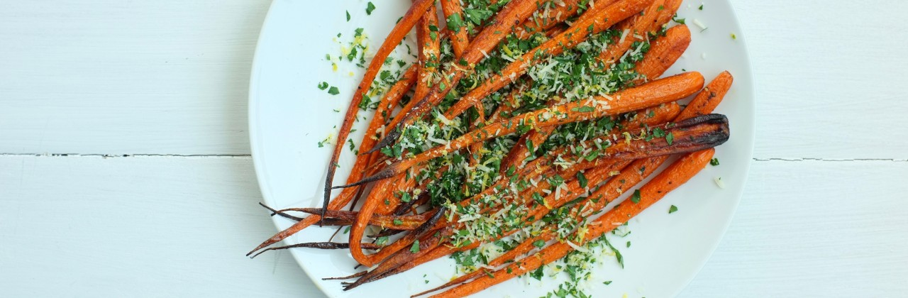 Roasted Carrots with Parsley, Parmesan & Lemon