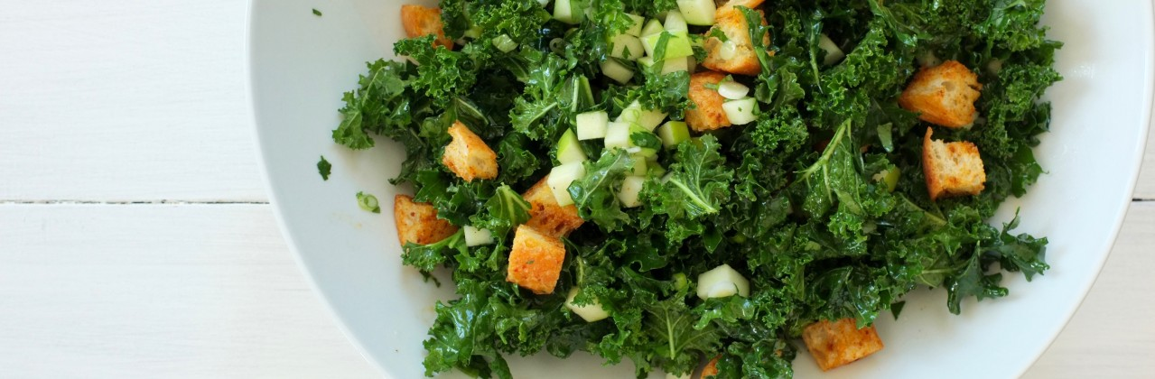 Kale Salad with Apple, Cilantro and Harissa Croutons