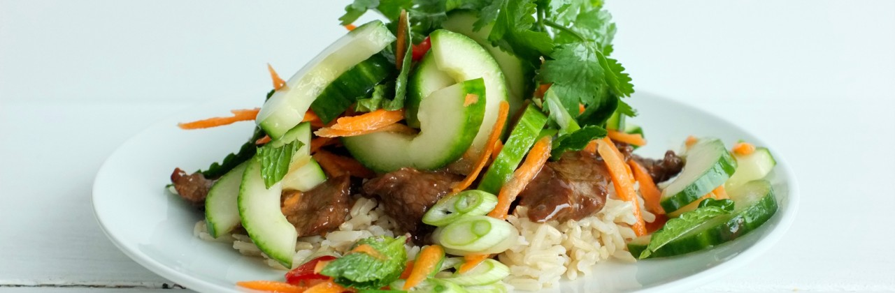 Sizzling Beef, Cool Salad