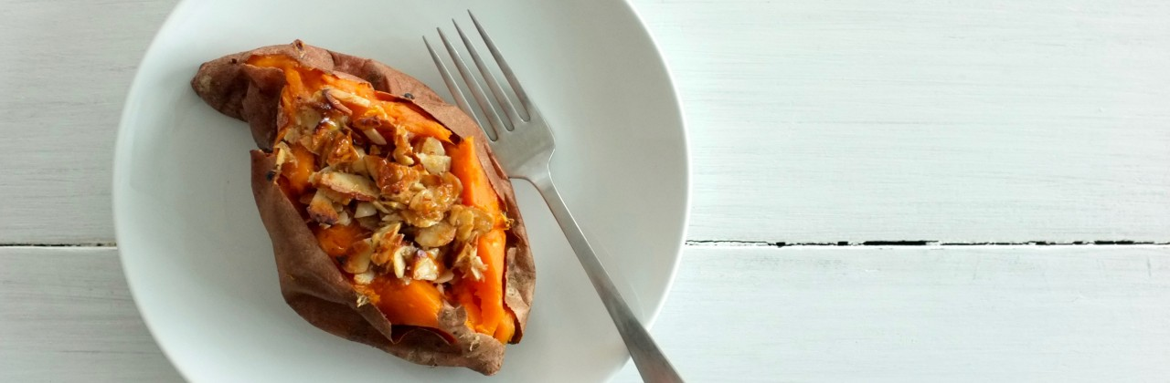 Baked Sweet Potatoes with Candied Coconut-Almond Topping