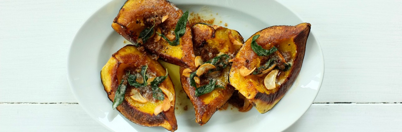 Roasted Acorn Squash with Garlic-Sage Brown Butter