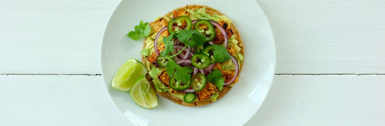 Tostadas with Avocado and Broiled Pineapple
