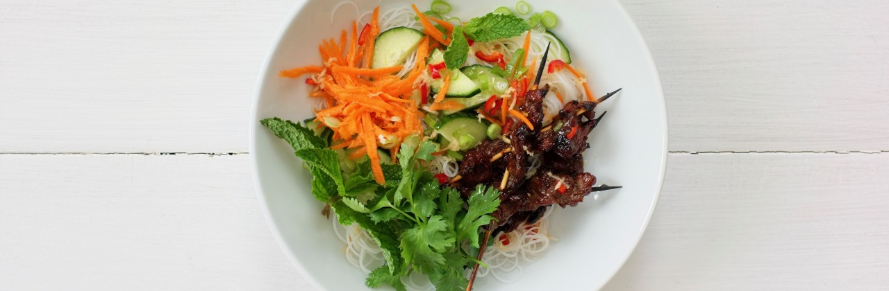 Grilled Teriyaki Beef Skewers with Cold Noodle Salad