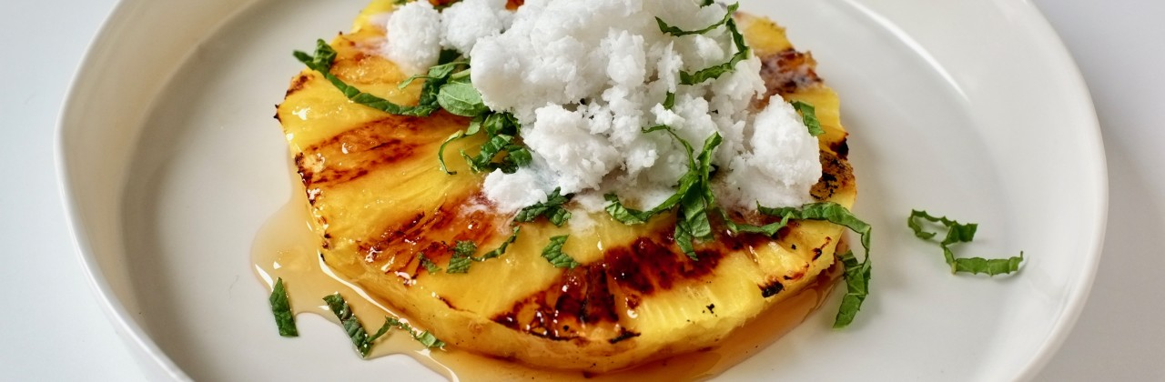 Grilled Pineapple with Coconut Ice