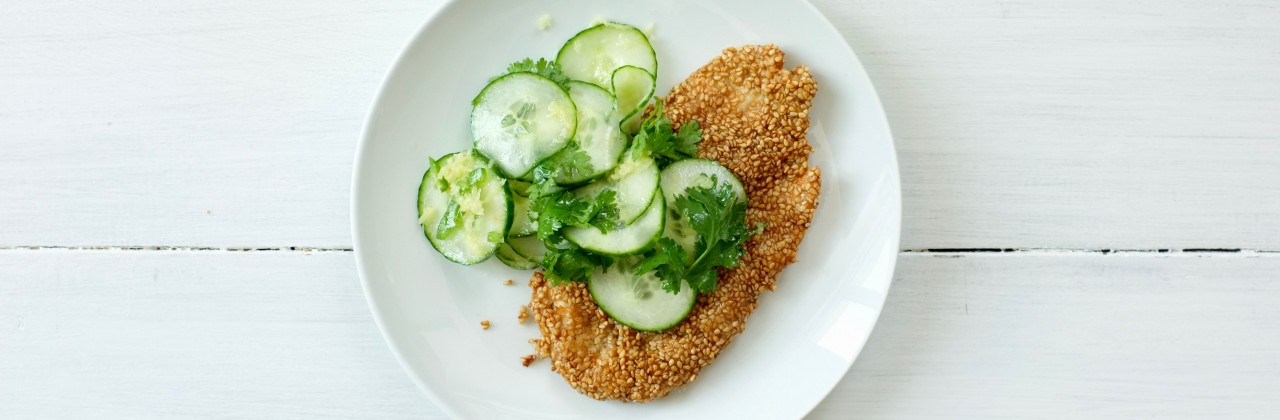 Sesame Chicken Cutlets with Cucumber & Ginger Salad