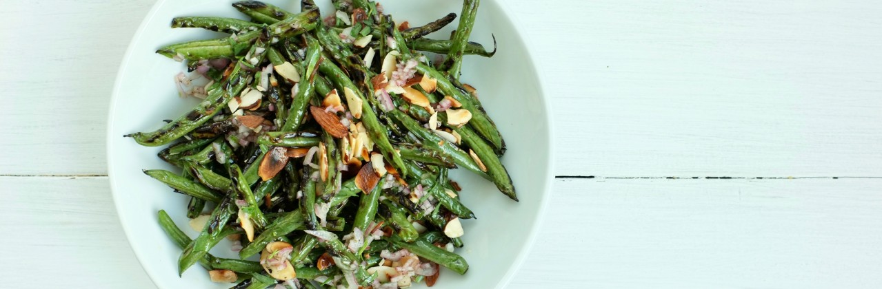 Grilled Green Beans with Almond Vinaigrette