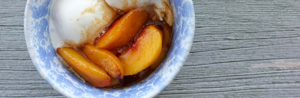 Caramelized Peaches and Ice Cream