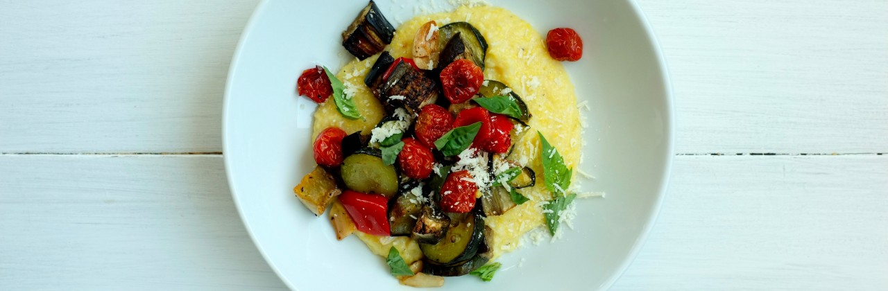 Roasted Vegetables and Creamy Parmesan Grits