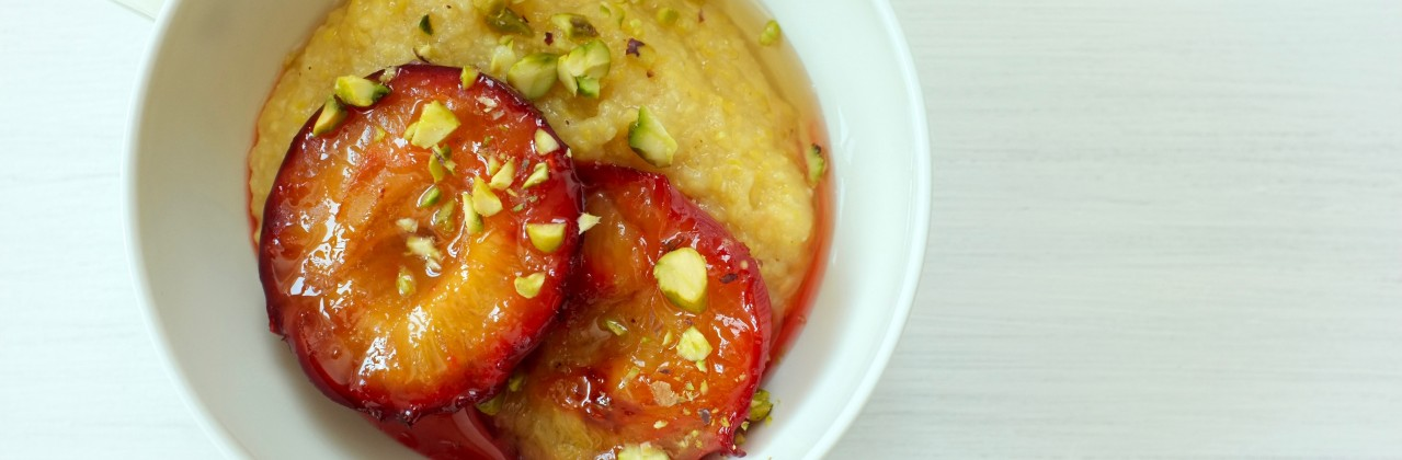 Roasted Plums and Sweet Grits
