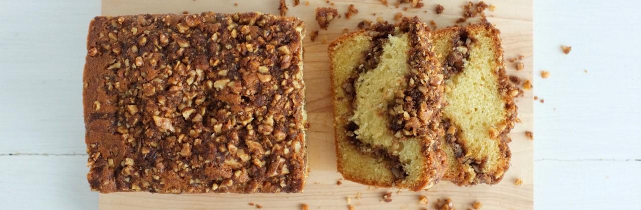 Cinnamon Walnut Sour Cream Cake