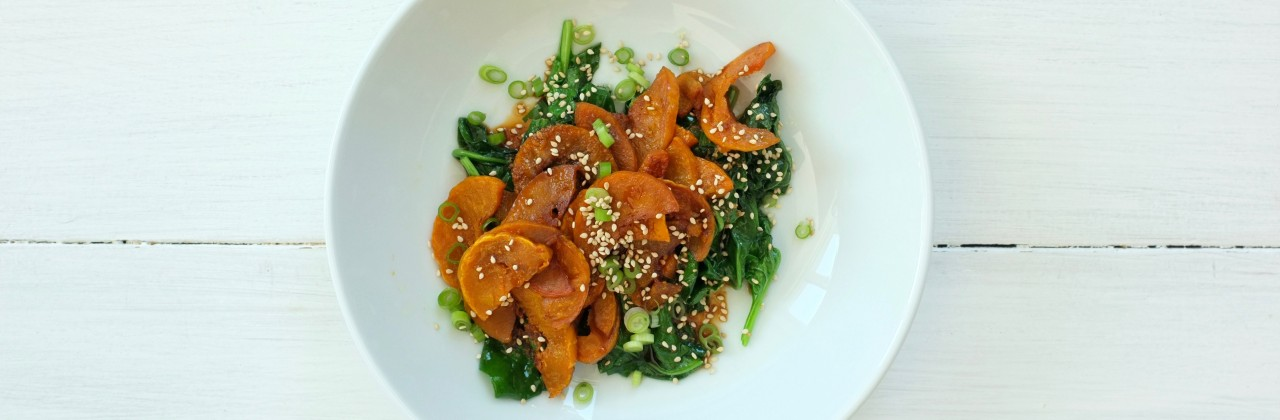 Roasted Butternut Squash with Sesame Spinach
