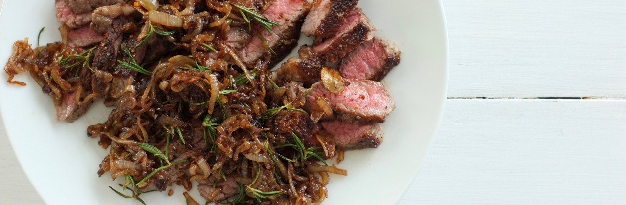 Steak with Caramelized Shallots and Rosemary
