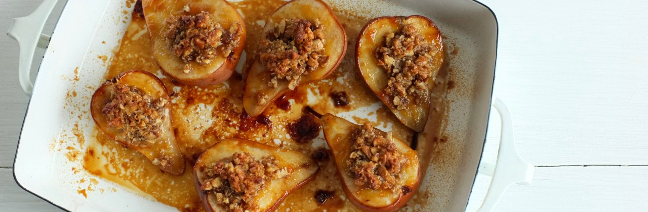 Pecan and Peach Baked Pears