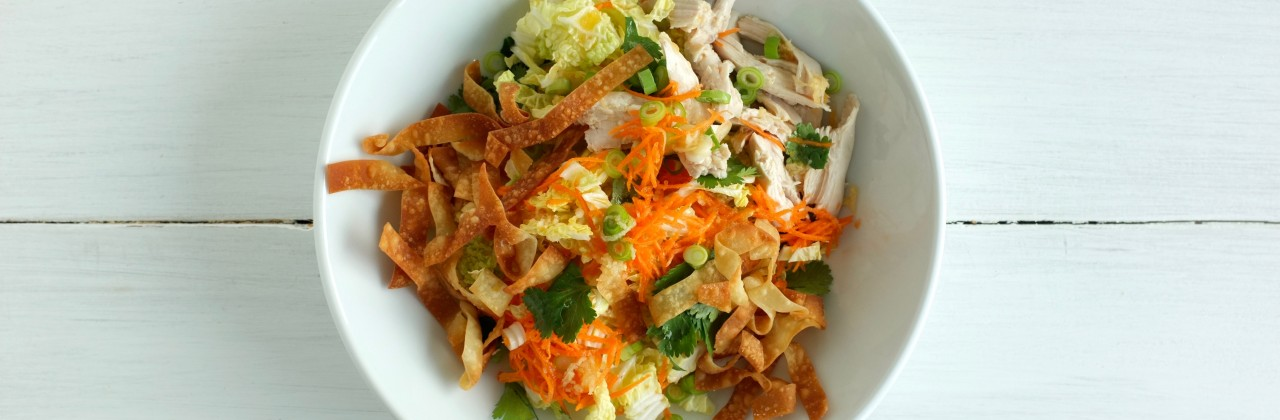 Chicken Salad with Mandarin-Ginger Vinaigrette and Crispy Wontons