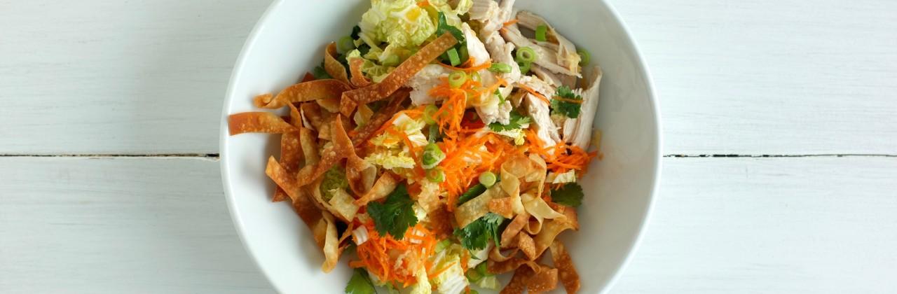 Chicken Salad with Mandarin-Ginger Vinaigrette and Crispy Wontons