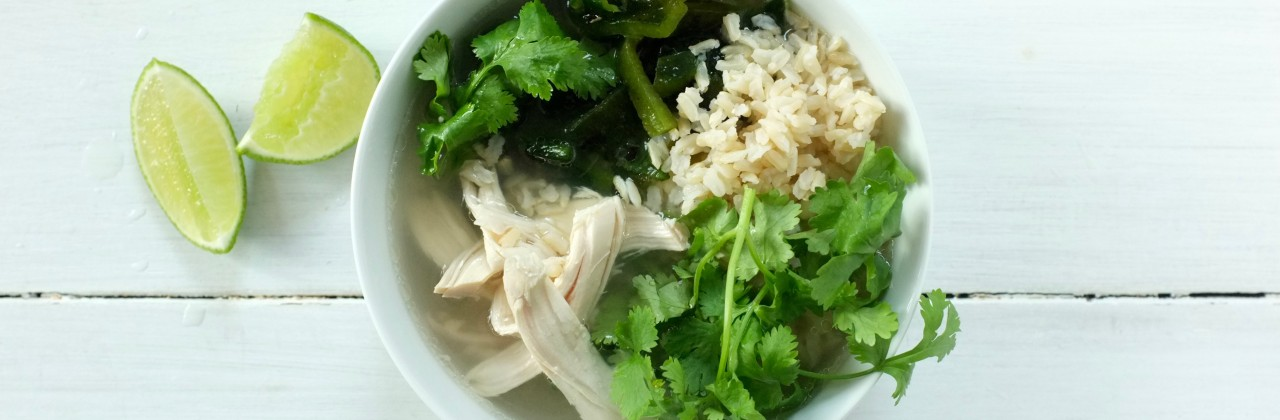Chicken Soup with Lime and Cilantro