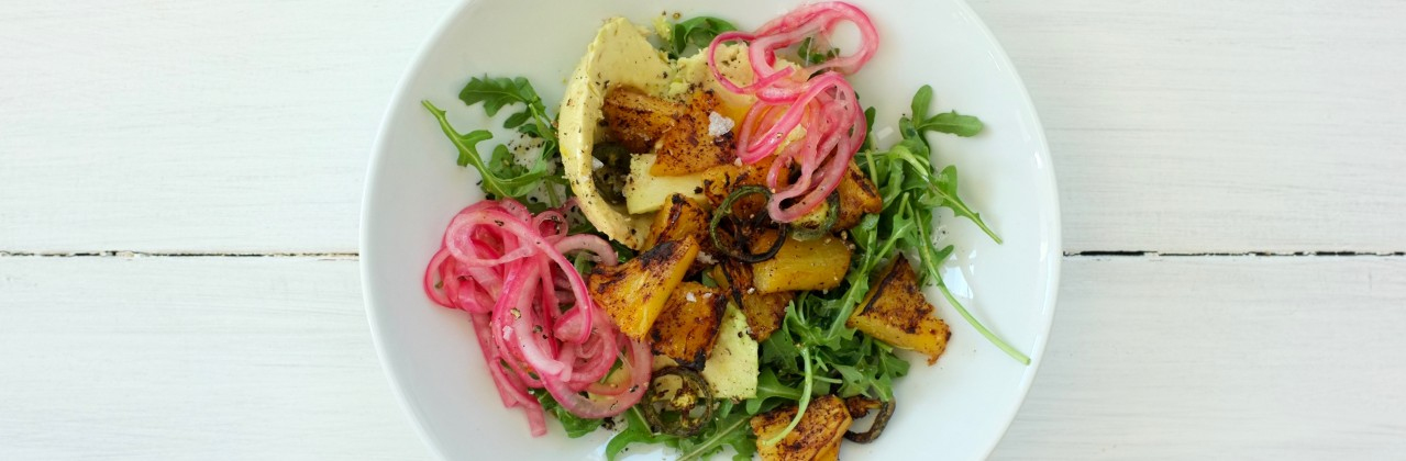 Broiled Pineapple Salad with Avocado and Pickled Onion