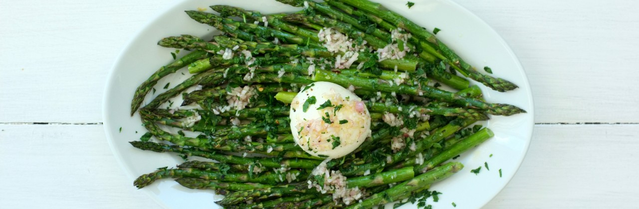 Roasted Asparagus with Burrata and a Shallot Vinaigrette