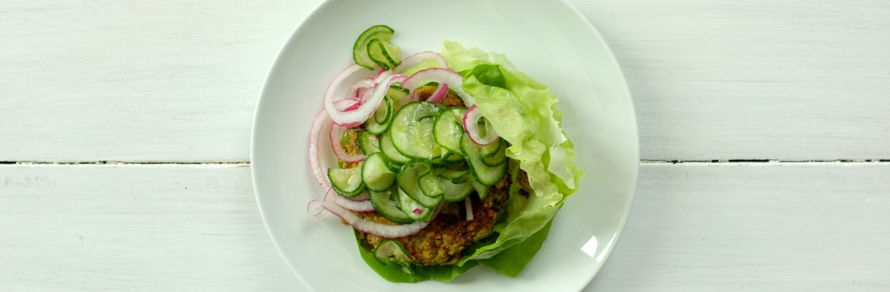 Veggie Burgers with Pickled Cucumber and Onion