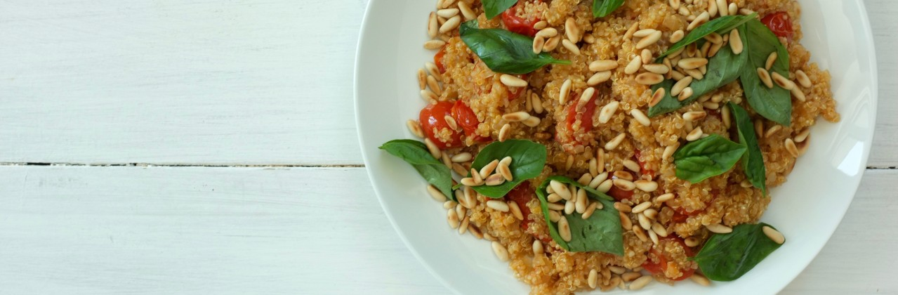 Quinoa Pilaf with Pine Nuts and Basil
