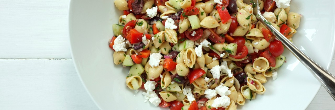 Chickpea Pasta Salad with Tomatoes, Cucumber & Feta