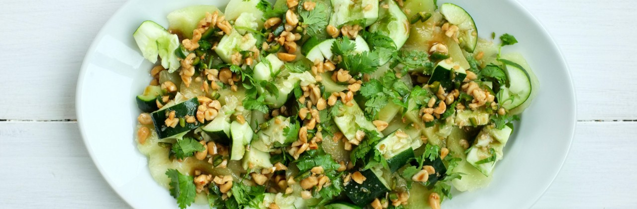 Cool Cucumber and Honeydew Salad with Spicy Peanut Dressing