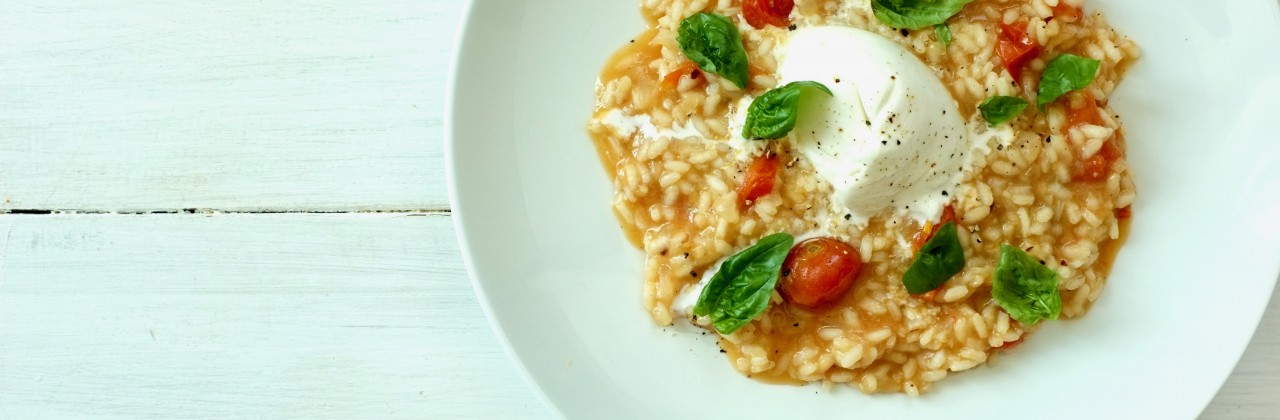 Summer Tomato Risotto with Burrata
