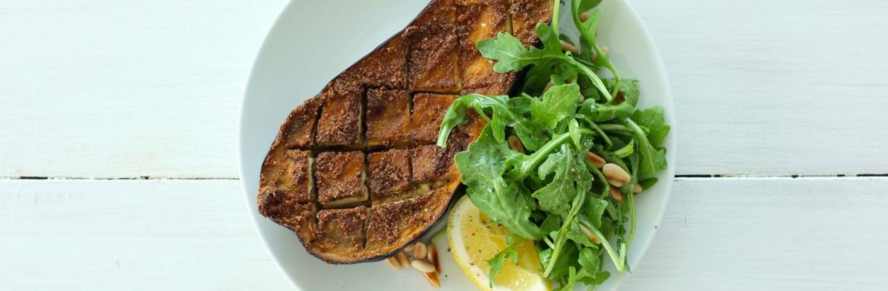 Roasted Spiced Eggplant with Arugula Salad