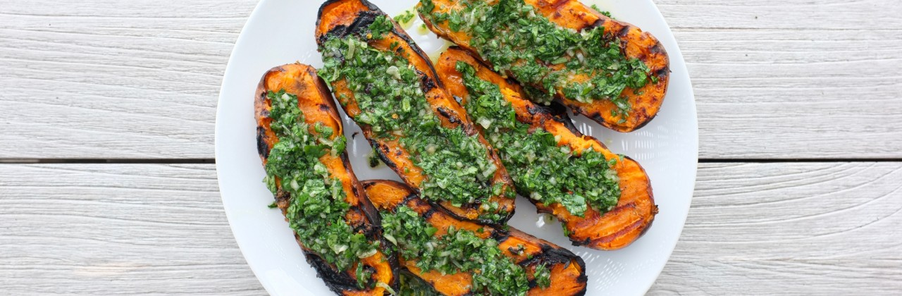 Grilled Sweet Potatoes with Chimichurri
