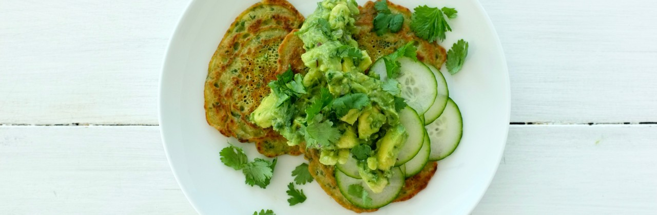 Chickpea Pancakes with Cucumber and Guacamole
