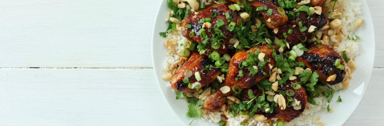 Peach and Sriracha Chicken with Coconut Rice