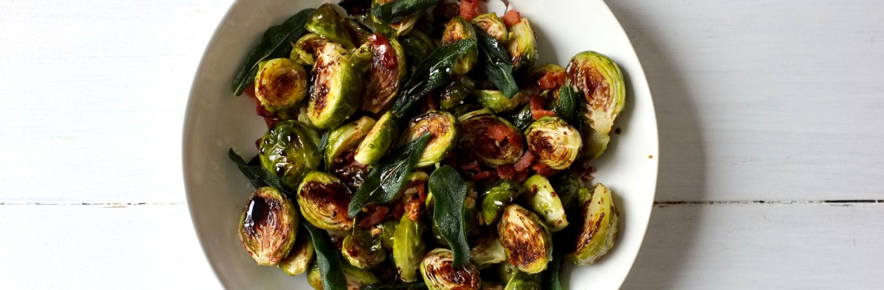 Roasted Brussels Sprouts with Bacon and Fried Sage