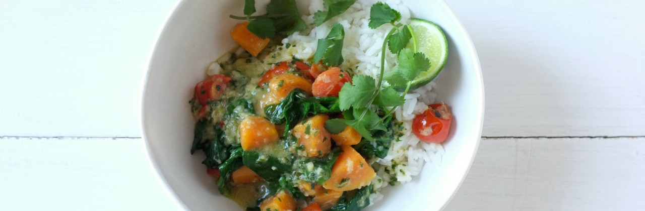 Coconut Green Curry with Sweet Potatoes and Spinach